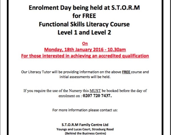 Enrolment Day 18th of January 10:30 for Literacy Level 1 & 2