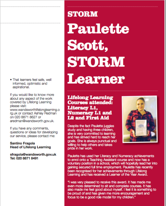 S.T.O.R.M Learner in Local Magazine