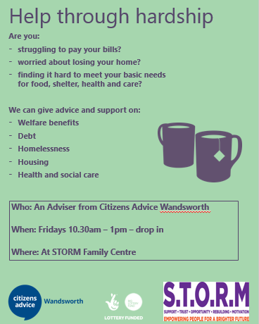 Drop in Citizen's Advice Wandsworth Sessions at S.T.O.R.M