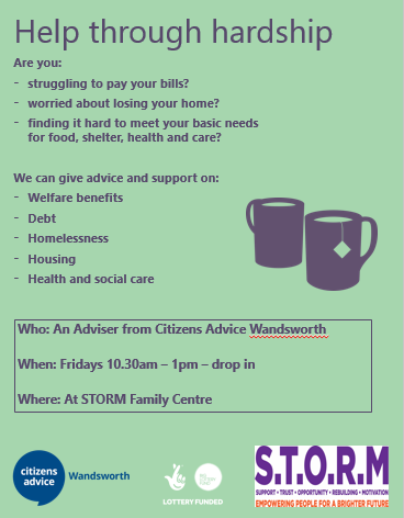 Citizen's Advice Wandsworth: Advice sessions at S.T.O.R.M