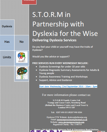S.T.O.R.M in Partnership with Dyslexia for the Wise delivering Dyslexia services to the Community