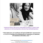 NEW: Employment Support Project & ESOL Class beginning in October